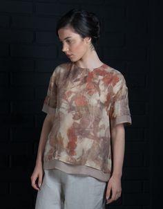Ecoprint colección 2016 Montse Lira diseño textil hecho en Chile Silk smooth chiffon in ecoprint