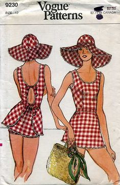 Vogue vintage sewing pattern for a bathing suit and matching floppy hat                                                                                                                                                                                 More