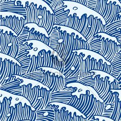 Japanese Waves Texture In Blue · GL Stock Images