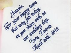 The perfect personalized Grandmother of the Bride or Grandmother of the Groom gift! Get yours here http://www.ellawinston.com/collections/pre-designed-handkerchiefs/products/grandmothers-personalized-handkerchief $24.89
