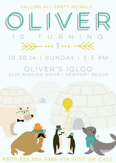 Hipster Arctic Party Animals Invitation by aprettylittleparty