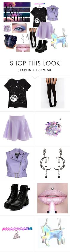 """Pastel Goth"" by lynn-skye-blacketer ❤ liked on Polyvore featuring Mina, ASOS, The Gypsy Shrine, Jeremy Scott, Eye Candy, cute and MyFaveTshirt"