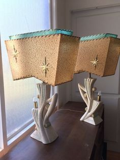 Vintage Starburst Retro Mid Century Modern Atomic Eames Table Lamps Chalkware