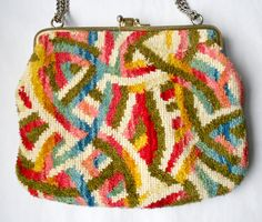 Vintage chenille carpet bag handbag or brocade tapestry purse by blingitongirl