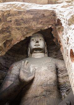 Grottes de Yungang dans la province de Shanxi en Chine, tout proche de Datong, la ville fantôme.