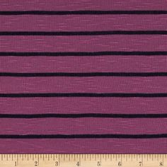 Designer Jersey Knit Stripes Raspberry/Black from @fabricdotcom  This jersey knit fabric has an ultra soft hand, fluid drape and about 25% stretch across the grain. This versatile fabric features a slub look, semi sheer with a slight shine  and is perfect for creating stylish tops, tanks and dresses with a lining.