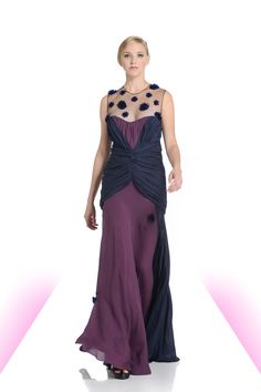 Navy and plum georgette ruche gown with beaded sheer neckline.  #beads #flowers #navy #plum #gown #eveningwear #michaeldepaulo