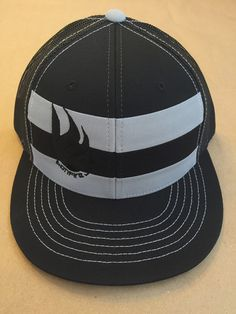 Bonfire Junkie logo mesh trucker hat - striped grey, snapback fits most