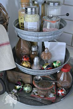 Holiday Beverage Station  LOVE LOVE the lazy susan!!! I want one! stat!