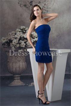 Mini Royal Blue Chiffon Strapless Bridesmaid Dress