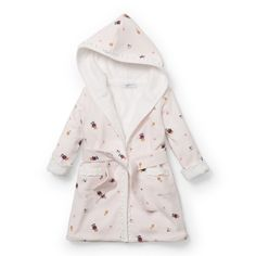 Ralph Lauren Childrenswear Hooded Terry Bathrobe-pink Baby Girl (3 Months). Shell, lining and belt 100% cotton. Long sleeves; Belted waist; Attached hood. Wrap silhouette with ruffled trim. Machine washable. Patch pockets with ruffled trim at the hips.