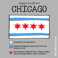 Our shirt, WHAT THE CHICAGO FLAG REALLY MEANS!  http://www.paskeyland.com