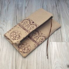 Fold Over Bag, Hand Printed Bag, Linen Purse, Clutch Purse, Block Printed in Brown