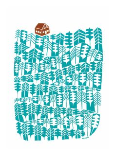 Mountain Cabin print A3.By Mengseldesign