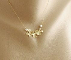 Trio Orchid Flower and White pearls GOLD Fill by hotmixcold