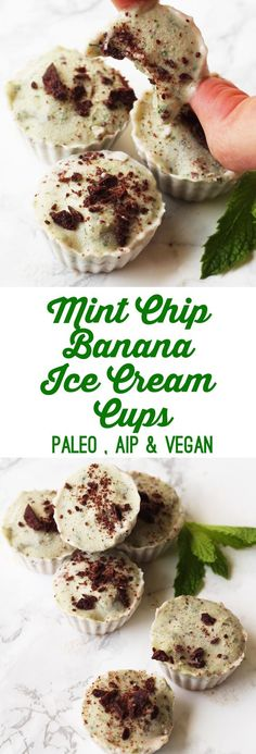 Mint Chip Banana Ice Cream Cups (paleo, AIP option, gluten free, grain free, dairy free, egg free, soy free, nut free, refined sugar free)