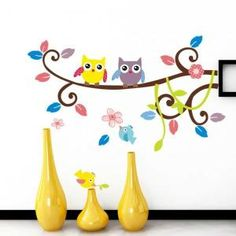Sticker mural hiboux sur une branche, feuilles fleurs et oiseaux - Achat / Vente stickers - Soldes* d'hiver dès le 6 janvier Cdiscount