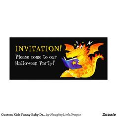 Kid's Funny Halloween Dragon 4x9.25 Paper Invitation Card