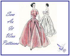 1950s Vogue 9034 Strapless Gown Evening Ball by SewAsItWasPatterns