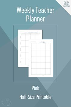 Weekly Teacher Planner Printable in Half-Size in Lilac Week At A Glance Printable, Weekly Planner Printable, Planner Pages, Weekly Schedule, Teacher Planner, Bullet Journal Inspiration, Free Printables, Bar Chart, Journaling