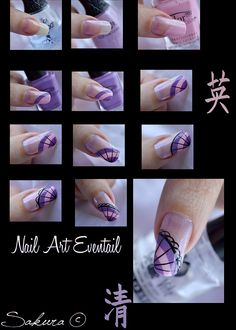 Step by Step Nail Art Eventail Fan Hard Nails, Thin Nails, Long Nails, Nail Art Hacks, Nail Art Diy, Shellac, Orchid Nails, Peeling Nails, Nailart