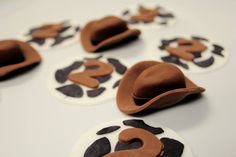 Fondant Cupcake Toppers Cowboy and Cow Print with Birthday Number 12 qty - Choose Any Colors - for Toy Story, Cowboy, Cowgirl