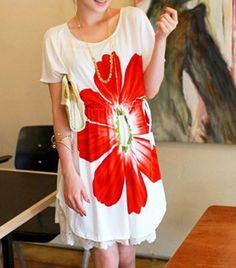 $6.76 Sunflower Print Scoop Neck Color Block Short Sleeve Casual Dress For Women