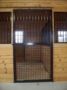 Stall door with grills and mesh