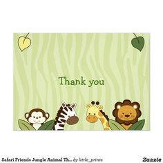 Safari friends jungle animal thank you note cards 13 cm x 18 cm safari friends jungle animal thank you note cards stopboris Choice Image