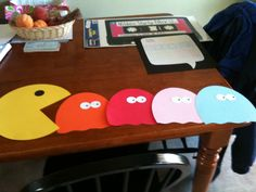 1980's Birthday Party decorations for kids theme birthday. - PacMan banner pieces