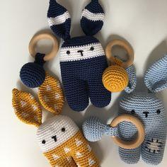 Rammelaar KONIJN - Muffie & Snuffie - gehaakt - knuffel - handgemaakt - veiligheidsoogjes - baby - zwanger - kraamkado
