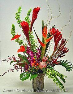 large flower arrangements for church | ... Floral Design Gallery - Anaheim, CA : Large Tropical Arrangement in