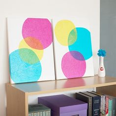 Wall Art: Bubbles | Pop open some bubbly...with art! This bubbles wall art is a great piece that will give any room some personality with its trendy and modern colors and design. Save your tissue papers from past gifts and recycle them with your own canvassed patterns.