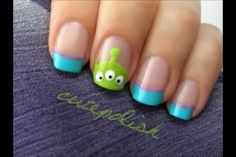 Alien disney nails from Toy Story: This is so cute and might be easy enough to do on my own.