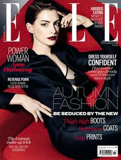 Anne Hathaway smolders on the cover of Elle UK.
