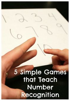 5 simple games for teaching number recognition to little ones--my kids already play rock paper scissors while they're waiting in the lunch line; totally teaching them rock paper number! Preschool Learning, Kindergarten Math, Teaching Math, Fun Learning, Teaching Ideas, Teaching Numbers, Math Numbers, Fun Math, Learning Activities