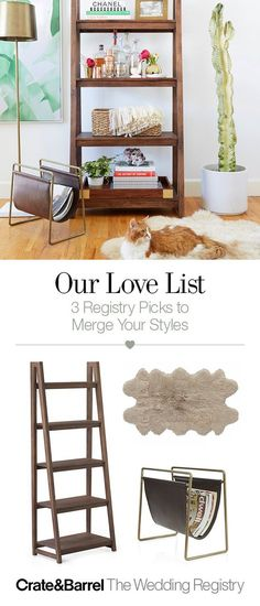 One of you loves mid-century, the other goes glam. Merging two design styles can be tricky for even the most in-love of couples. Lucky for both of you, our friends at 100 Layer Cake have some clever ideas to bring both looks happily together. Warm walnut, meet sleek brass. Add them to your registry, stat.