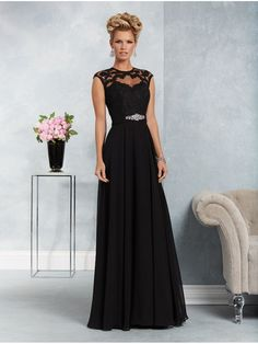 A-Line Illusion Bodice Lace Chiffon Black Long Mother of The Bride Dresses 907009 Mother Of The Bride Dresses Long, Mothers Dresses, Mob Dresses, Bridesmaid Dresses, Beach Dresses, Bride Gowns, Wedding Party Dresses, Bridal Dresses, Special Occasion Dresses