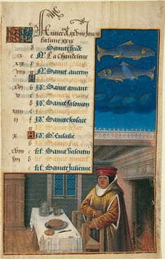 'February,' illuminated manuscript from the Book of Hours of Louix XII, by Jean Bourdichon, 1498/9, France. (The J. Paul Getty Museum)