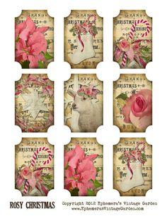 Ephemeras Vintage Garden: Free Printable: Rosy Christmas Gift Tags