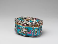 German Jewelled Snuffbox, circa 1765 ~ Glass, gold, silver, diamonds and rubies