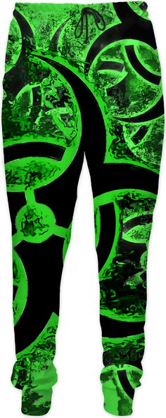 Green and black biohazard sign, bio waste, toxic fallout warning joggers  - for more art and design be sure to visit www.casemiroarts.com, item printed by RageOn at www.rageon.com/a/users/casemiroarts - also available at www.casemiroarts.com - This product is hand made and made on-demand. Expect delivery (aproximate time frames) to US in 11-23 business days (international 14-33 business days). #pants #clothing #style #fashion