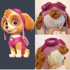 Paw Patrol & crochet hat, made by me! No pattern as its a copyright character and I& only gifting to my daughter. Crochet Kids Hats, Crochet Cap, Crochet Beanie, Diy Crochet, Crochet Crafts, Crochet Toys, Chrochet, Crochet Disney, Crochet Paw Patrol Hat