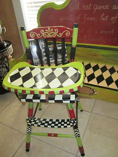 FUNKY HAND PAINTED Black White Check High Chair