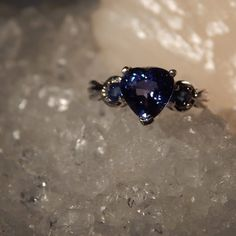 2.80 Ct. Heart Shaped Blue Sapphire Gemstone Ring in Sterling Silver