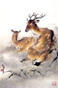 Deer - by Au Ho-Nien (1935 - ), China. Lingnan School.