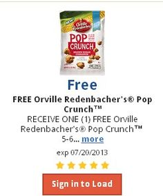 KROGER:  FREE Orville Redenbacher's Pop Crunch - Hurry and download!!