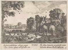 Jan van de Velde (II)   Juni, Jan van de Velde (II), Anonymous, Johann Tscherning, 1684 - 1729   Landschap met herders met hun vee op een veld bij een dorp bij een houten brug; Ouderkerk aan de Amstel naar Abcoude, voorstellende de maand juni. Bovenaan het bij deze maand behorende sterrenbeeld: kreeft. Zesde prent uit een serie van twaalf.