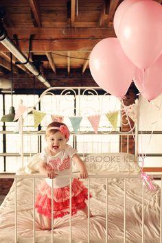 "Birthday ""One"" Shirt for Girls First Birthday - 1st Birthday Shirt - Light Pink Polka Dots- Matching Headband. $33.00, via Etsy."