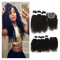Etino Brazilian Curly Virgin Hair Unprocessed Brazilian Curly Virgin Human Hair Weave 3 Bundles 8 10 12 * Learn more by visiting the image link.